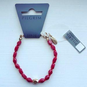 Red & gold beaded Pilgrim Danish Design bracelet